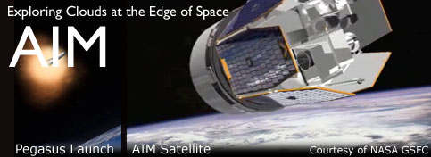 AIM: Exploring Clouds at the Edge of Space - A graphical view of the AIM satellite over Earth at sunset.